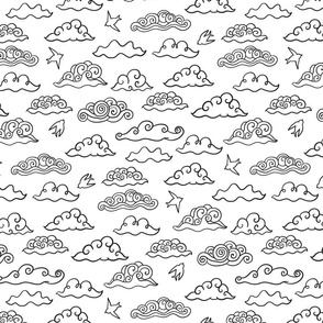Doodle swirls clouds design. Black and white sky pattern
