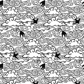 Doodle clouds and birds design. Swirls in the sky.