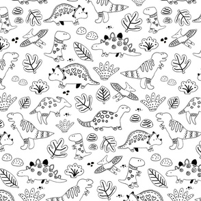 Sketch dinos pattern black and white. Dinosaurs. Funny and cute pattern.