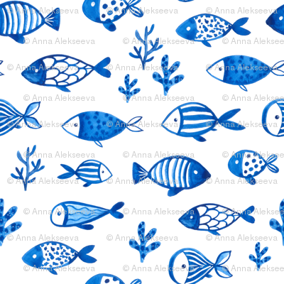 Watercolor blue fish design. Under the sea animals design.  Ocean creatures pattern. Small