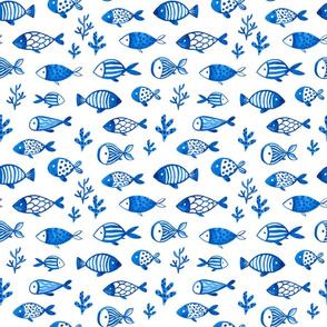 Watercolor blue fish design. Under the sea animals design.  Ocean creatures pattern. Medium.