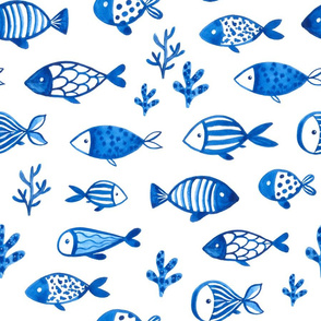 Watercolor blue fish design. Under the sea animals design.  Ocean creatures pattern.