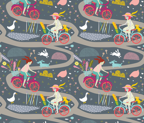 Girls on Bikes by Mount Vic and Me fabric by mountvicandme on Spoonflower - custom fabric