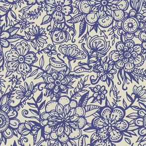 Ditsy Doodle Floral in Indigo Navy & Cream small print