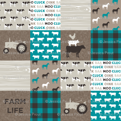 Farm Life - Patchwork wholecloth - turquoise, brown, & tan C18BS
