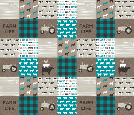 Farm Life - Patchwork wholecloth - turquoise, brown, & tan C18BS fabric by littlearrowdesign on Spoonflower - custom fabric