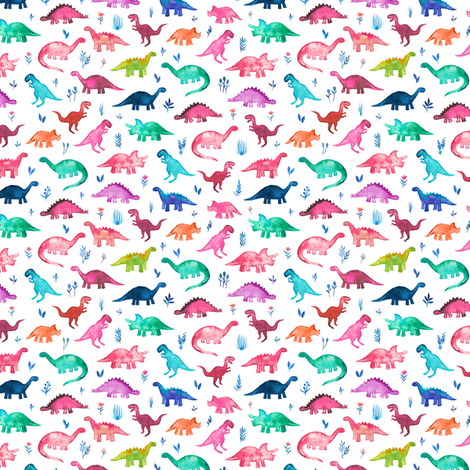 Extra Tiny Multicolored Dinos on White fabric by micklyn on Spoonflower - custom fabric