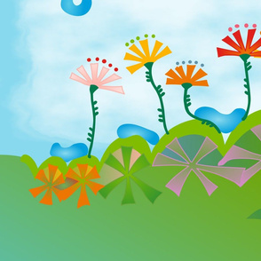 Bunny on a Hill Quilt Panel
