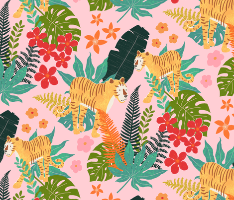 tigers into the wild fabric by marije_verkerk on Spoonflower - custom fabric