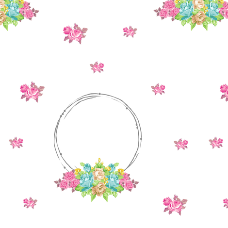 shabby rose twig wreath LG7 - mint pink bunch fabric by drapestudio on Spoonflower - custom fabric