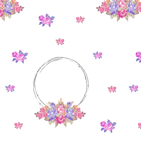 shabby rose twig wreath LG7 -lavender purple bunch fabric by drapestudio on Spoonflower - custom fabric
