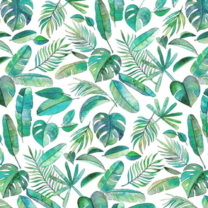 Blue Green Tropical Leaf Scatter on White - large