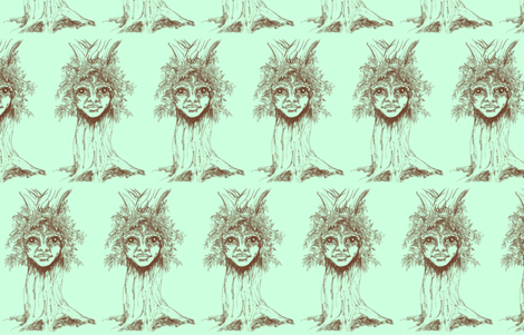 I tree - Turrong/dryad-Sepia on Mint fabric by cloudsong_art on Spoonflower - custom fabric