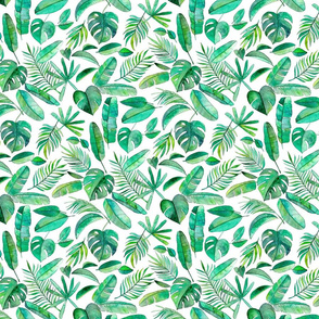 Emerald Tropical Leaf Scatter on White - small