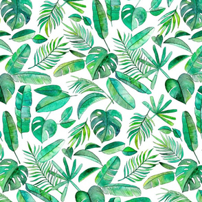 Emerald Tropical Leaf Scatter on White - large