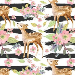watercolor deer and floral Strips background