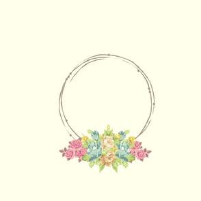 shabby rose twig wreath FQ - mint pink-ed