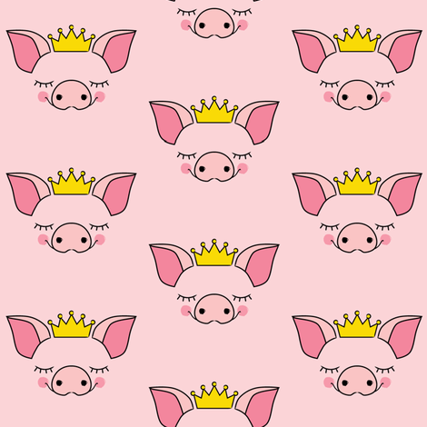 princess pig-faces-no-outline fabric by lilcubby on Spoonflower - custom fabric