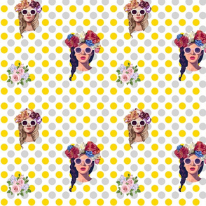 free gray and gold polka dots background