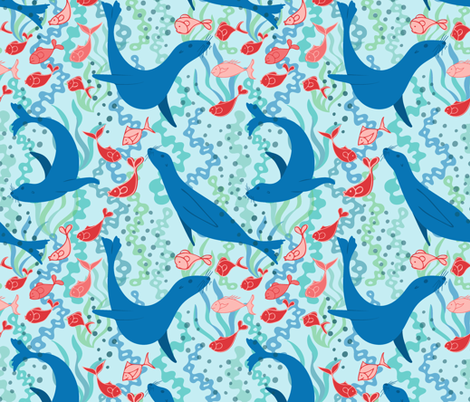 Sea Lion fabric by vivdesign on Spoonflower - custom fabric