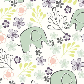 Elephant Floral - Effies Garden Collection