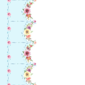 French Country Floral - Blue Border