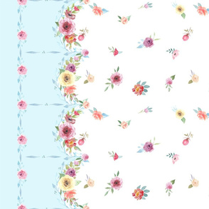 French Country - Flowers and Blue Border