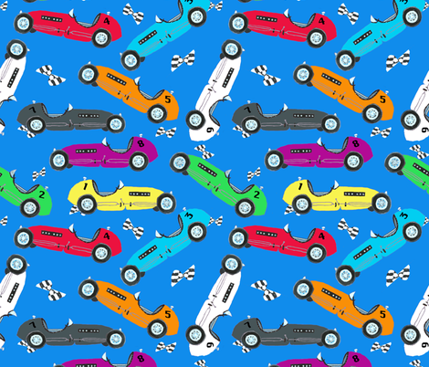 Vintage Indy Race Cars fabric by lisakling on Spoonflower - custom fabric