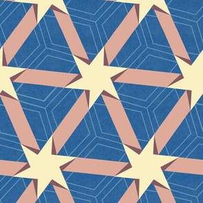 Peach and Blue Stars and Triangles