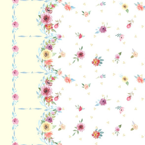 French Country - Flowers , Dots and Yellow Border