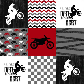Motocross//A little dirt never hurt - Red - Wholecloth Cheater Quilt
