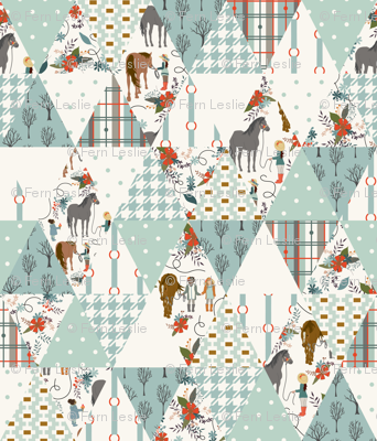 Horse Dreaming - Rotated - Triangle Cheater Quilt, Whole cloth Quilt