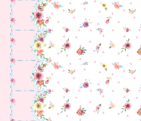 French Country - Floral, Dots and Pink Border fabric by grafixmom on Spoonflower - custom fabric