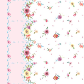 French Country - Floral, Dots and Pink Border