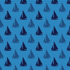 Little Blue Sailboats on Blue