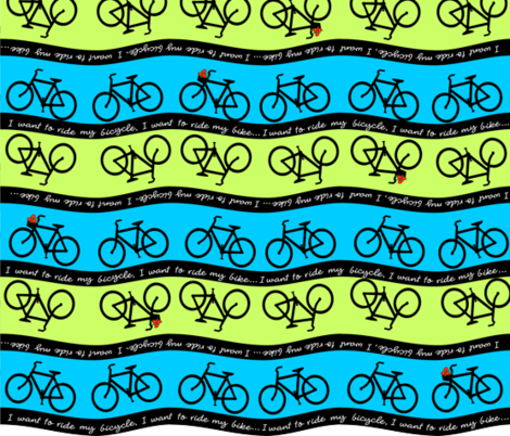 I Want To Ride My Bicycle fabric by embroiderme on Spoonflower - custom fabric