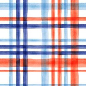 watercolor plaid multi colored - orange and blue