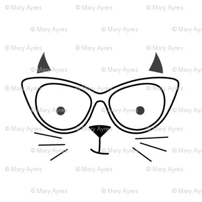 hipster cat face no outline