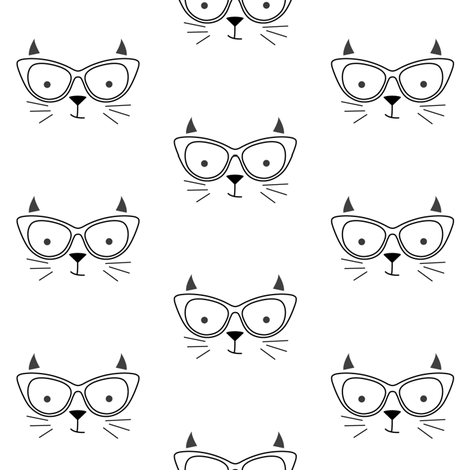 hipster cat face no outline fabric by lilcubby on Spoonflower - custom fabric