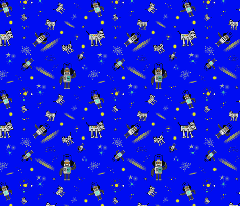 Robot and It's Dog on Blue  fabric by loulii on Spoonflower - custom fabric