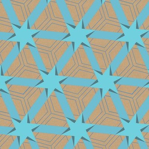 Aqua Blue and Beige Stars and Triangles