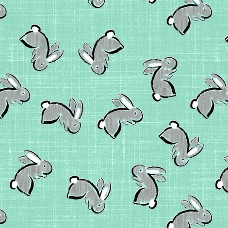 Bunny Tumble in duck egg fabric by joanmclemore on Spoonflower - custom fabric