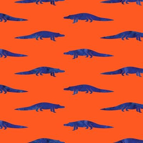 alligators - blue on orange