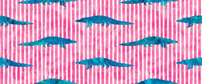 alligators on pink stripes