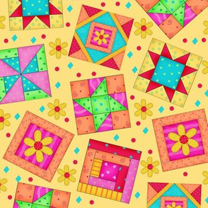 Multicolor Quilt Art Blocks Yellow Large