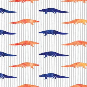 alligators - blue and orange on stripes