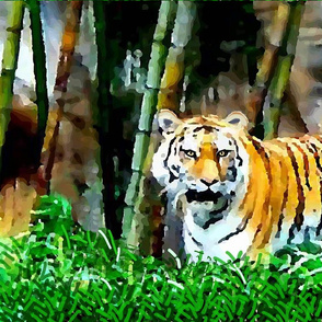 Tiger by bamboo