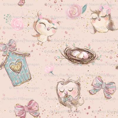 Glitter Pink Owl