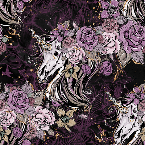 Romantic Gothic Unicorn fabric by comfybabyboutique on Spoonflower - custom fabric