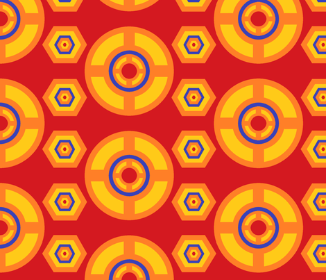African disc red fabric by ahuva_israel on Spoonflower - custom fabric